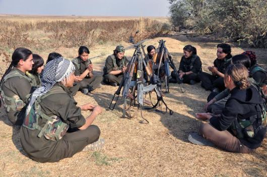 YPG women fighters holding their regular meeting before joining the front line. Photo: Rodi.M.Amin