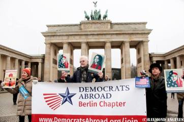 In front of the Brandenbueg Gate on January 21, 2017 before the Womens March on Washington